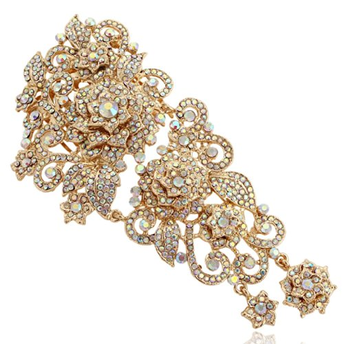 EVER FAITH Gold-Tone 5.9 Inch Flower Cluster