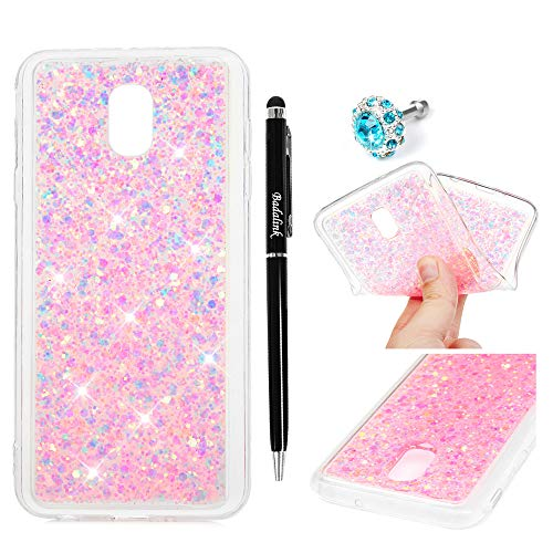 Galaxy J3 2018 Case, Pink Diamond Glitter Bling for Girls Women Gel Silica Soft TPU Flexible Rubber Anti-Scratch Clear Back Shock-Absorption Bumper Protective Cover for Samsung Galaxy J3