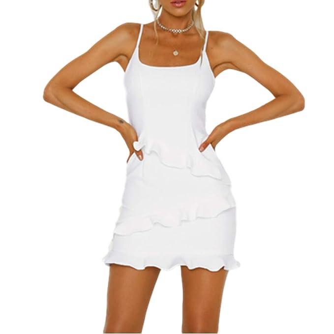 Dotbuy Vestidos Mujer Verano Hombro Vestidos con Tirantes de Espagueti Mini Vestidos de Fiesta Playa Falda