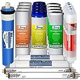 iSpring F21KU100 2Year Replacement Set for 7Stage 100Gpd Uv Alkaline Reverse Osmosis Water Filter, Fits Rcc1Upak Rcc7Akuv (21Pcs 4Sed 4Gac 4Cto 2T33 1Mc1 4Ak 2Uvf), white