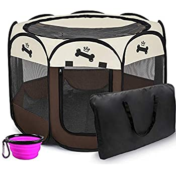 Hepeng Portable Foldable Pet Playpen Kennel+Carrying Case,in/Outdoor use | Waterproof | Removable Shade Cover | Dogs/Cats/Rabbit | Puppy Playpen