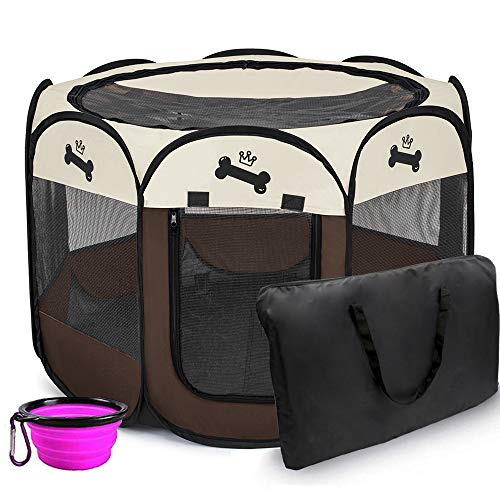 Hepeeng Portable Foldable Pet Playpen and Carrying Case Collapsible Travel Bowl Indoor/Outdoor Use with Water Resistant…