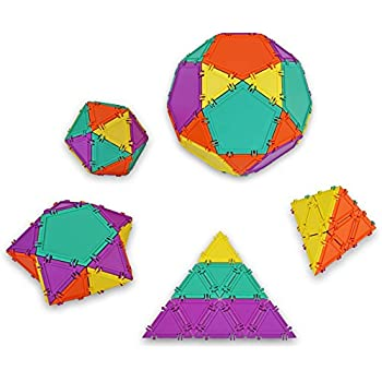 Geometiles 3D Building Set for Learning Math, Includes Online Activity Books,32-pc, Made in USA (Pentagon/Triangle)