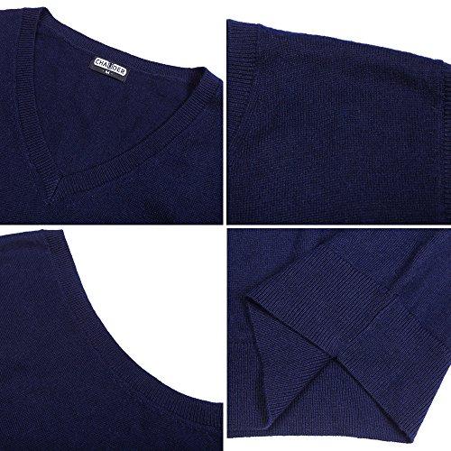 CHAUDER Men's Relax Fit V-Neck Vest Knit Sweater Cashmere Wool Blend Navy Blue, L by CHAUDER (Image #5)