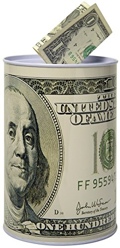 100 Dollar Bill Metal Money Coin Piggy Bank by HOMEBAY