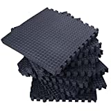 216''x216'' Interlocking EVA Foam Floor Mat 54 Tiles Set | Gymnastics Exercises Protective Flooring Gym Playground Mat | Black