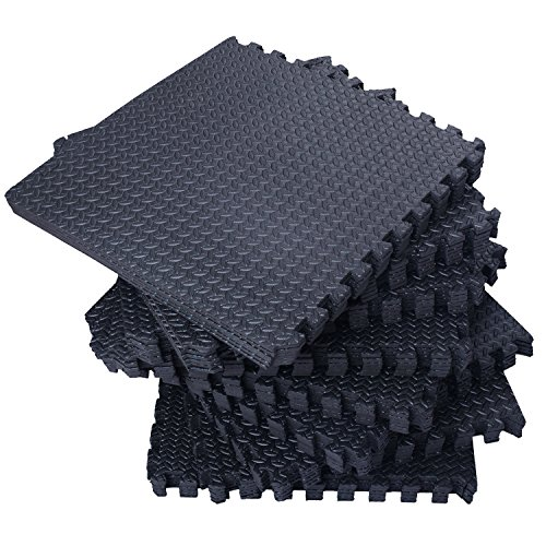216''x216'' Interlocking EVA Foam Floor Mat 54 Tiles Set | Gymnastics Exercises Protective Flooring Gym Playground Mat | Black by Eosphorus