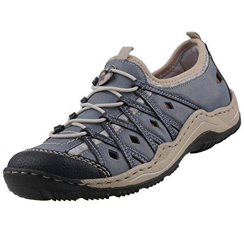 Las señoras deslizador del zapato 36 37 38 39 40 41 42 43 azul Rieker L0567-14 Azul