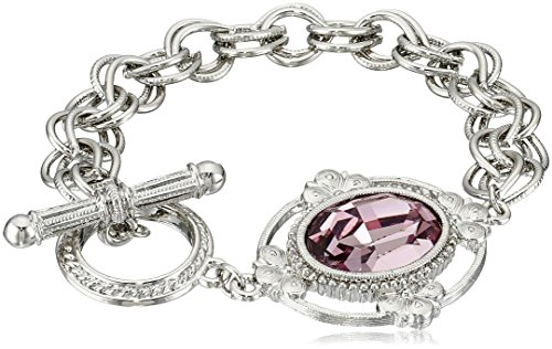 1928 Jewelry Silver-Tone Crystal Faceted Oval Stone Toggle Link Charm (Best 1928 Jewelry Charm Bracelets)