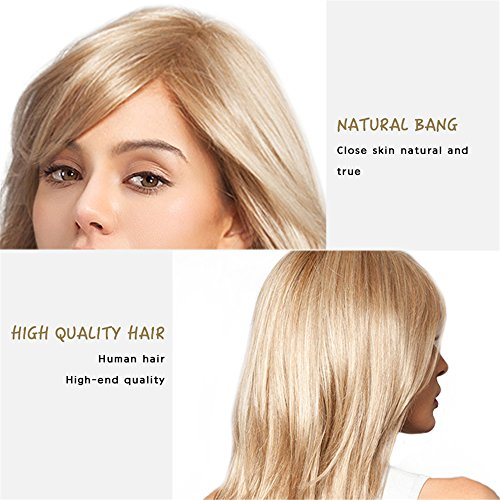 Women Brazilian Human Hair Blonde Color Long Natural Straight Side Bangs Blend Capless Daily& Wedding Wigs 24 Inches by Mufly (Image #3)