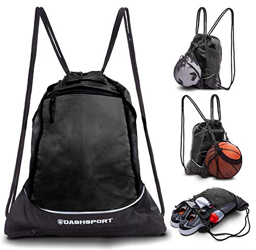 Drawstring Bag with Mesh Net - Sackpack with Ball Net for All Sports - Soccer Bag, Basketball, Volleyball, Baseball for Youth - Sports Sack, Gym Bag for Men and Women, Tote Bag, Light Backpack]()