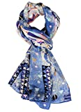 Salutto Women 100% Silk Scarves Blue Elf Morning Painted Scarf