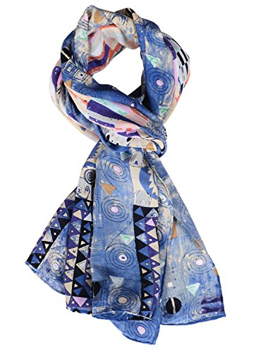 - Salutto Women 100% Silk Scarves Blue Elf Morning Painted Scarf