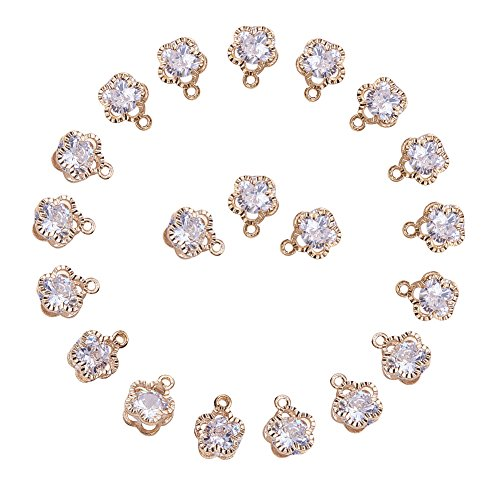 (PandaHall 1Bag About 100 Pcs Cubic Zirconia Alloy Flower Shape Charms Sets for Jewelry Making Size 12x9x5mm KC Gold)