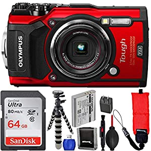 Olympus Waterproof Tough TG-5 Digital Camera (Red) with SanDisk Ultra 64GB SDXC UHS-I Memory Card, Floating Wrist Strap