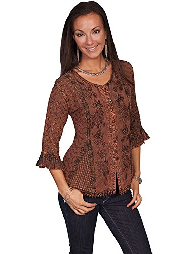 scully-womens-floral-embroidered-ruffled-sleeve-top-copper-xx-large