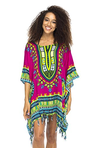 Caftan Ethnic - Back From Bali Womens Swimsuit Beach Cover Up Caftan Short Poncho Ethnic Fuchsia