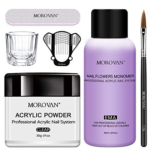 Morovan Acrylic Powder Acrylic Nail Kit with Professional Liquid Monomer Acrylic Nail Tools Set Nail Extension Acrylic Nail System Nail Art Starter Kit