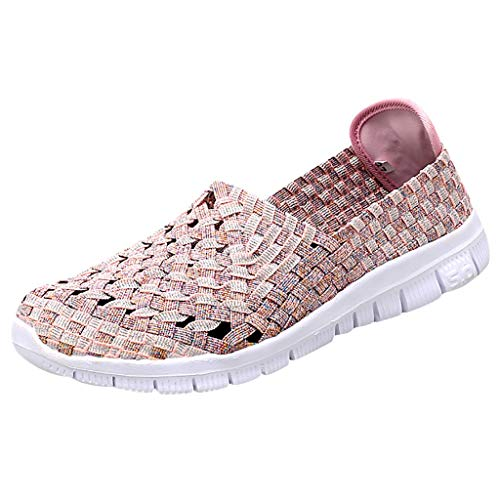 (TnaIolral Ladies Flats Beach Shoes Woven Breathable Shoes Casual Running Shoes (US:5, Purple))