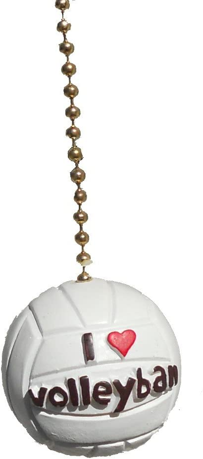 I love VOLLEYBALL ball sports ceiling Fan Pull light Chain extender by Clementine