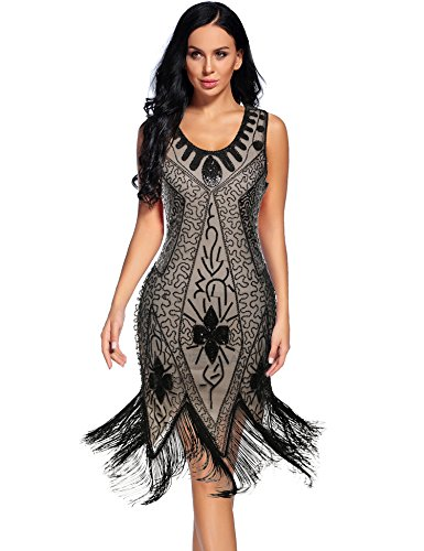 Flapper Girl Women's Flapper Dresses 1920s Beaded Fringed Great Gatsby Dress (L, Beige Black) -