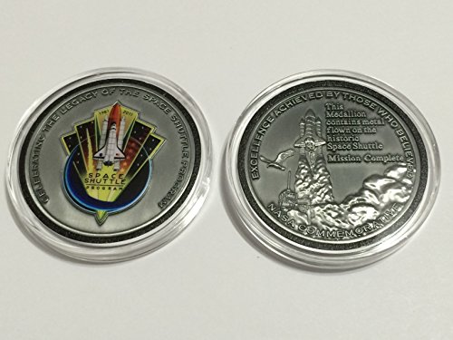 Antique Silver Space Shuttle Program Kennedy Nasa Mission Complete Commemorative Medallion Token