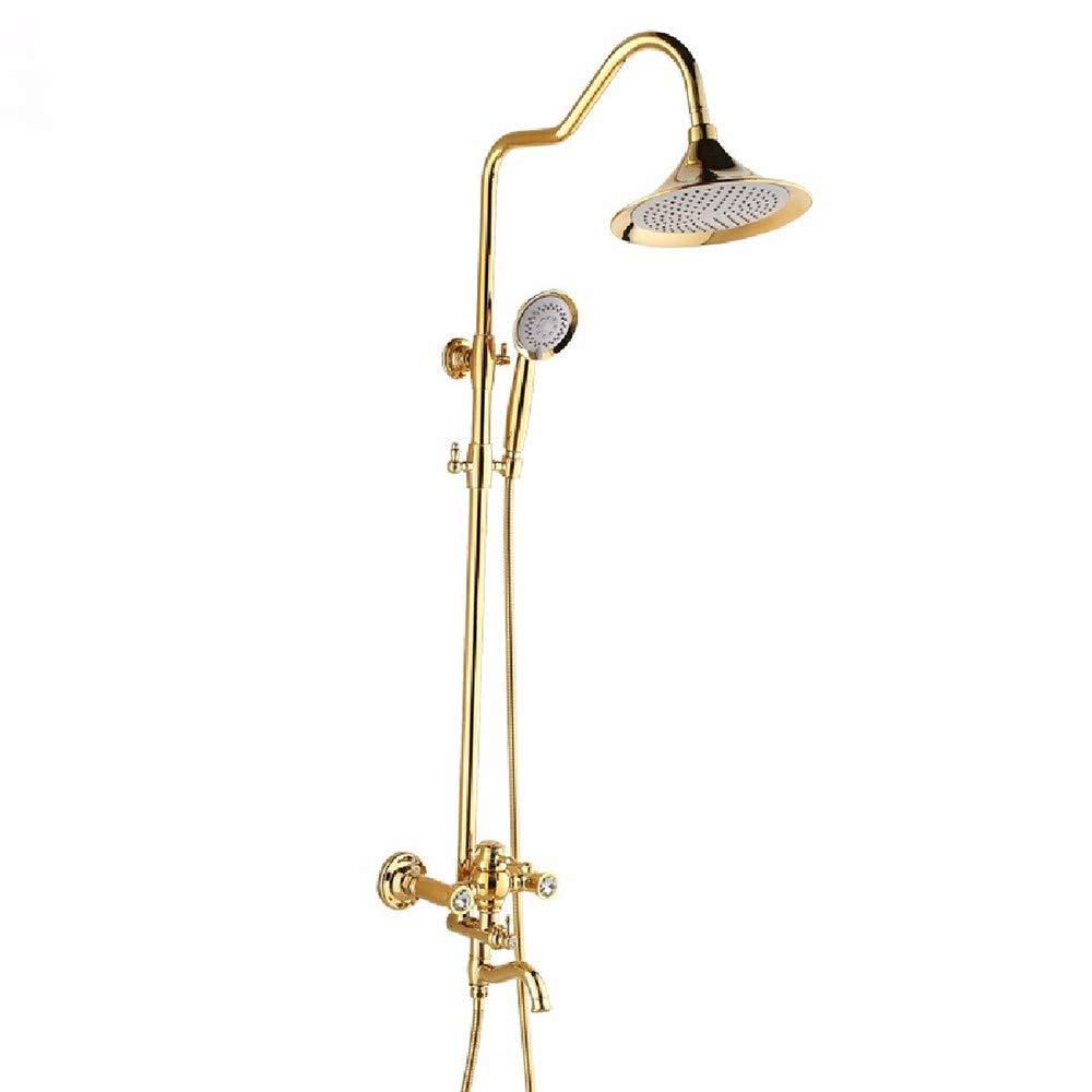 DWhui Bathroom Shower Set Bronze Titanium Golden Shower Showers Ceramic Handle adjusts Lifting Angle 360° Rotation