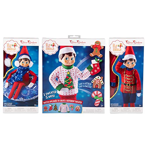 Elf on The Shelf Outfit Value Set - Elf Sweater Set, Snow Tube, and Sugar Plum Soldier - A Christmas Tradition
