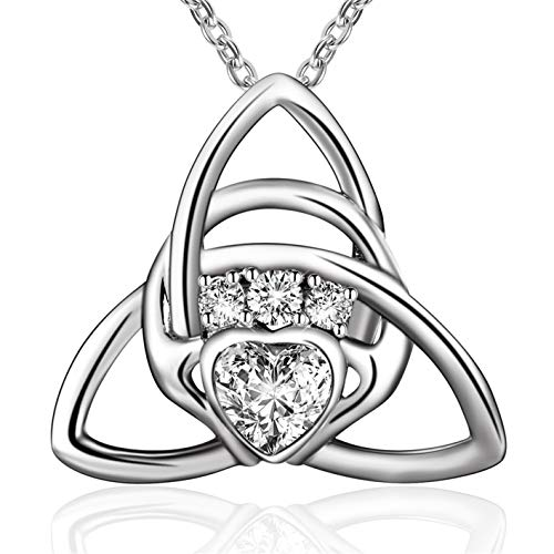Sterling Silver Irish Celtic Knot Triangle Love Heart Claddagh Pendant ()