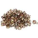 uxcell® 100 Pcs 12mm Spring Band Type Action Fuel Hose Pipe Air Clamp Bronze Tone