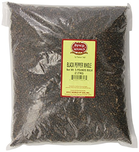 Spicy World Whole Black Peppercorns Bulk, 5-Pounds
