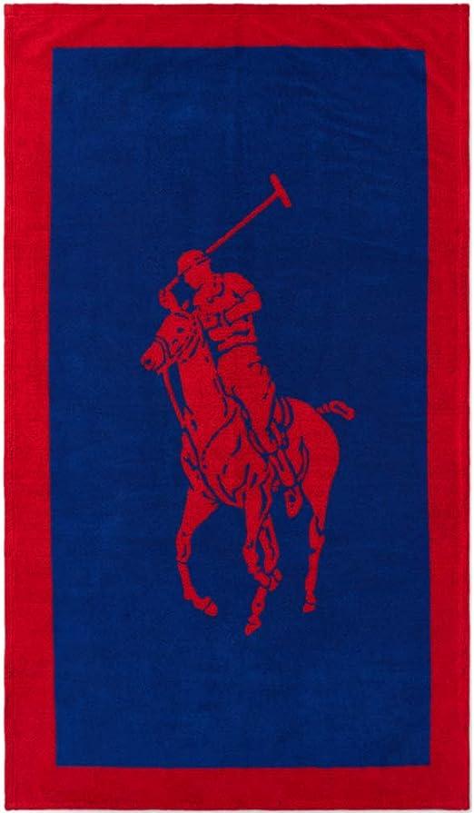 Ralph Lauren Polo Jacquard - Toalla de baño, Color Rojo y Azul ...