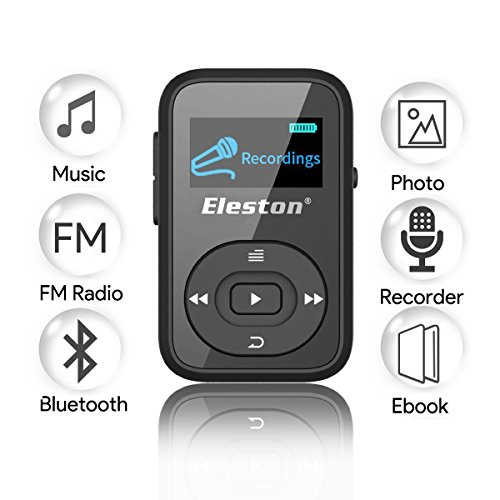 Review Eleston Portable 8GB Clip Bluetooth MP3 Music Player with FM Radio Record Lossless Sound and Expandable Micro SD Card for Sport Running Black