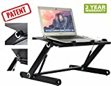 Height Adjustable Standing Desk Adjustable Laptop Stand Converter/ 21'' Laptop Cozy Desk Aluminum Laptop Table Sit Stand/Lightweight Desktop Sit to Stand in Seconds/Home &Office/Black (Black)