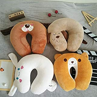 JXHJQY Creative Cartoon Puppy Doll U-Shaped Pillow Plush Toy Office nap Artifact appease Doll car Neck Pillow (Color : White)