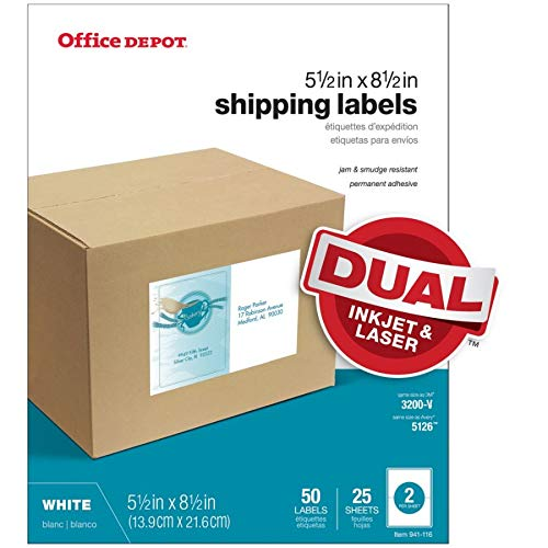 Office Depot White Inkjet/Laser Shipping Labels, 5 1/2in. x 8 1/2in, Pack of 50, 505-O004-0022