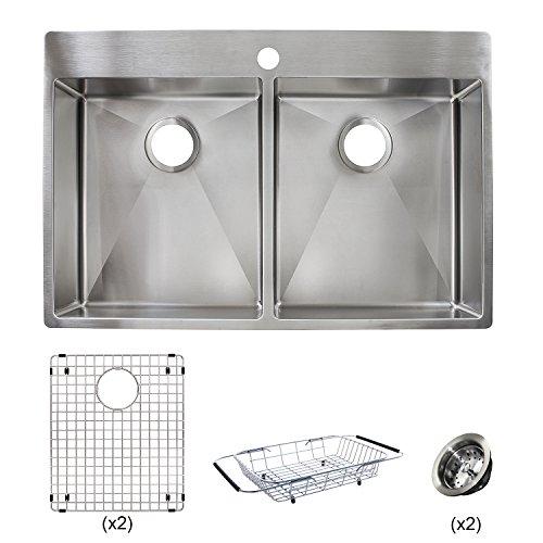 Franke HF3322-1KIT Vector 33.5 inch (33 inch) Handmade Dual Mount Double Bowl deep Kitchen Sink Kit, Stainless (Franke Stainless Steel Sinks)