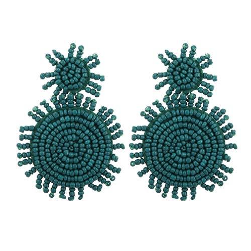 Beaded Earrings - Statement Drop Earrings for Women - Boho Handmade Seed Bead Dangle Earrings Idea Gift for Girls, Sisters, Friendship (Green Round statement drop earrings)