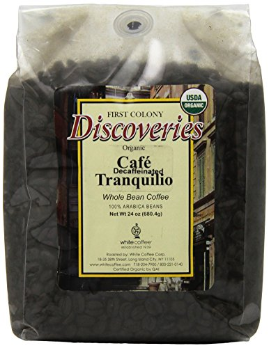 First Colony Organic Whole Bean Decaf Coffee, Caf? Tranquillo, 24-Ounce