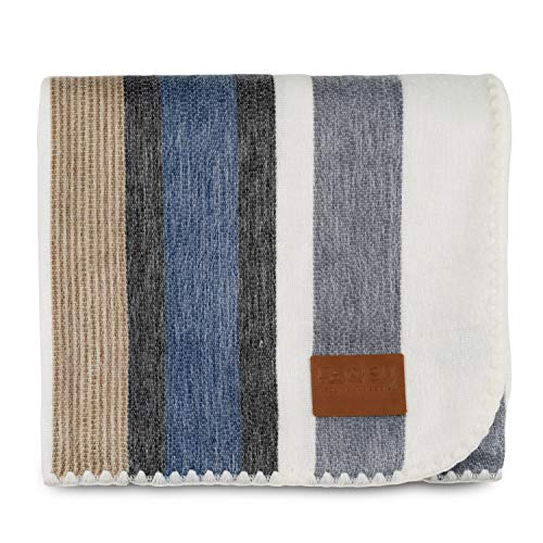 Qisu Alpaca Wool Blanket Throw   Large, Beautiful, Warm   85 x 65 inches   Ultra-Soft, Hypoallergenic and Breathable   Non-Itchy or Scratchy Fabric   Made in Ecuador (Brown Blue Grey White) (Blankets Throw Wool)