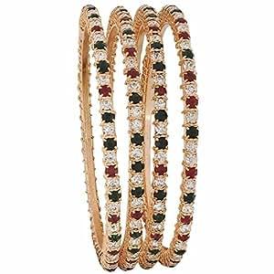 De la India de la joyería de las mujeres de Bollywood Maayra brazaletes de piedra verde marrón de 2,6 tamaño