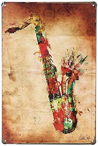 MOOCO Music Saxophone Instrument Retro Vintage Tin Sign 8