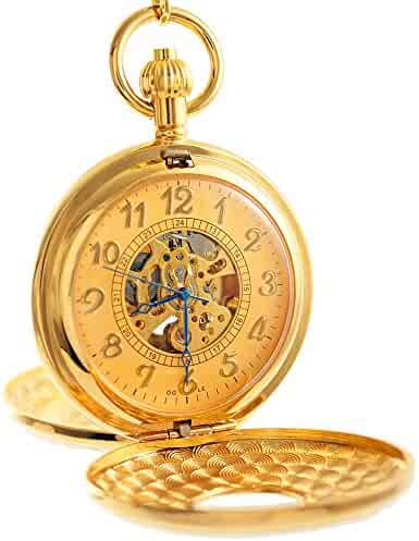 OGLE Vintage Roman Gold Copper Double Open Cover Chain Fob Self Winding Automatic Mechanical Pocket Watch(Gold Dial)