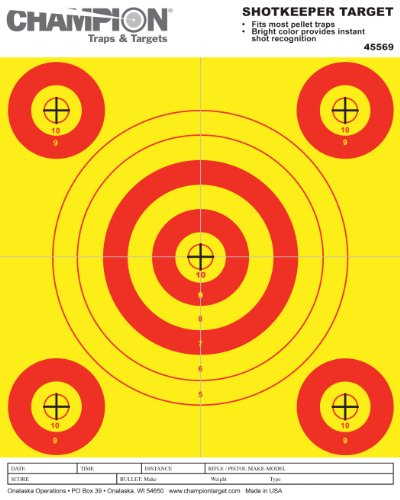 (Champion Pellet Paper 1 Large/4 Small Bullseye Target (Pack of)