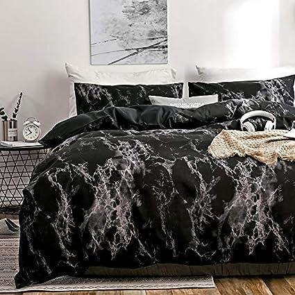 Queen Spring Meow Duvet Cover Set Black Marble King with Soft Lightweight Microfiber Black, King 3-PCS -King 1 Duvet Cover + 2 Pillow Shams