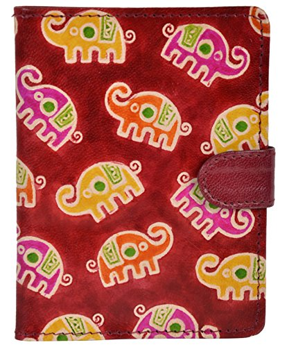 SAAGA Hand Painted Leather Passport Holder with Elephant Motifs / Handmade : 5.25×4 inches (LxB) Ideal for Standard Passport