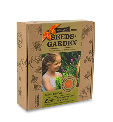 ORGANIC SEEDS GARDEN - GIFT PACK - 10 HERB Packets with Labels by VREMI TM