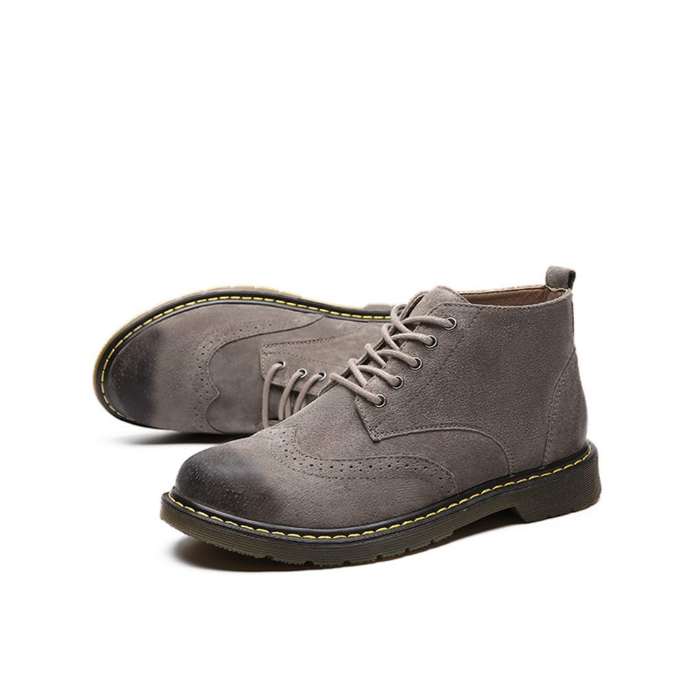 Mens Bullock wear-Resistant Work Boots lace up Leather Shoes Casual Mid-Shoes Youth