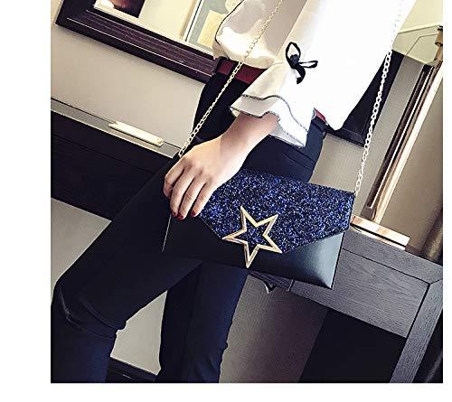Wristlet with Womens star ALAIX Formal Handbag Black Chain Envelope Rhinestone Clutch Evening Purse Shoulder 8xz6SRqw
