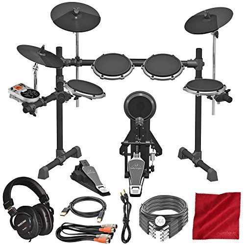 Set Professional Usb Drum (Behringer XD80USB 8-Piece Electronic Drumset with Drum Module and Tascam Professional Headphones, Cables, Deluxe Accessory Bundle)